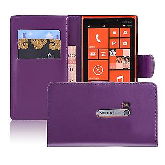 Book wallet PU leather case cover for Nokia Lumia 920 + Stylus - Purple