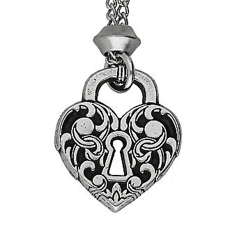 Handmade Victorian Heart Lock Pewter Pendant ~ 22 inch Chain