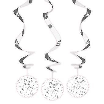 Communion confirmation decoration rotor spiral 3 PCs white Deckendeko