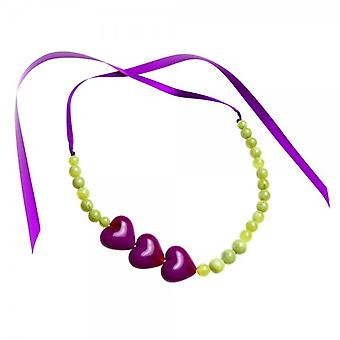 Camille Purple And Green Heart Bead Ribbon Necklace