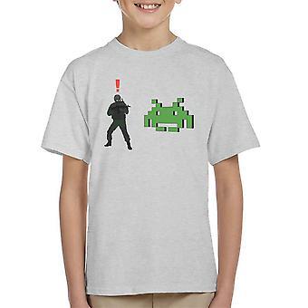 Metal Gear Solid Enemy Soldier Alert Space Invaders Kid's T-Shirt