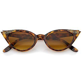 Women's Retro Rhinestone Embellished Oval Lens Cat Eye Sunglasses 51mm
