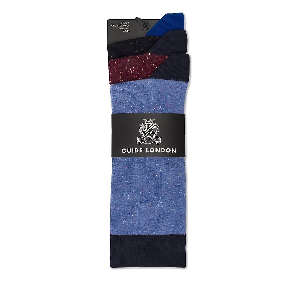 Guide London Speckled Cotton Mens Socks 3 Pack