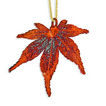 Iridescent Copper Dipped Japanese Maple Leaf With Gld-pltd Chain Necklace - 20 Inch
