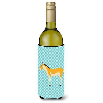 Turkmenian Kulan Donkey Blue Check Wine Bottle Beverge Insulator Hugger