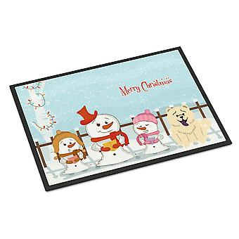 Merry Christmas Carolers Chow Chow White Indoor or Outdoor Mat 24x36
