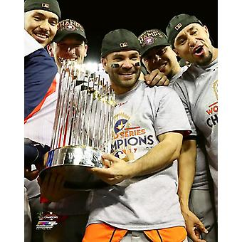 Jose Altuve with the World Series Championship Trophy Game 7 of the 2017 World Series Photo Print