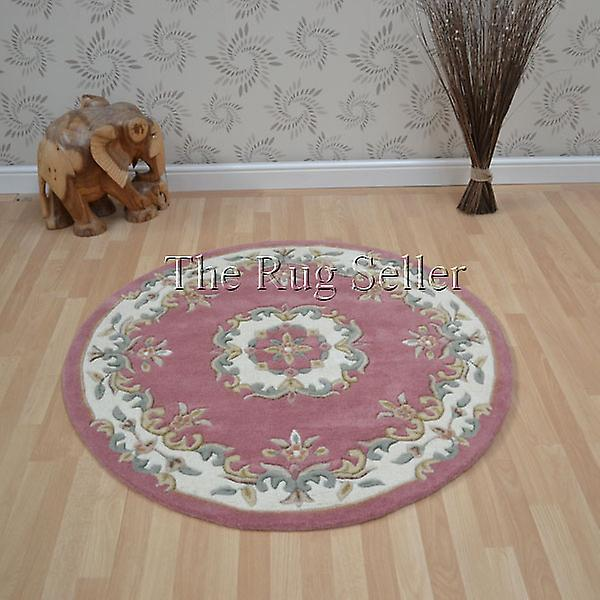 Royal Aubusson Round Rugs In Pink Cream