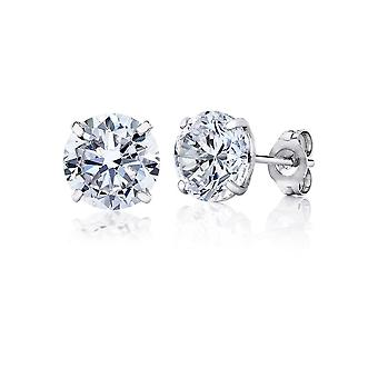 10k White Gold Round CZ Stud Earring