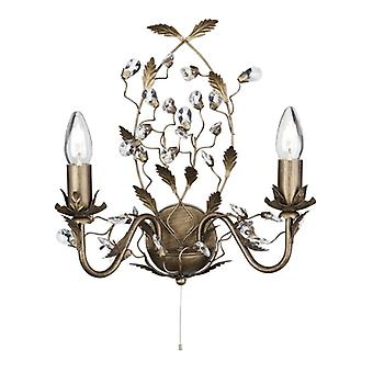 Almandite Brown Gold Wall Light With Crystals - Searchlight 2492-2BR