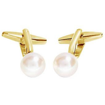 David Van Hagen Shiny Ball White Pearl Cufflinks - White/Gold