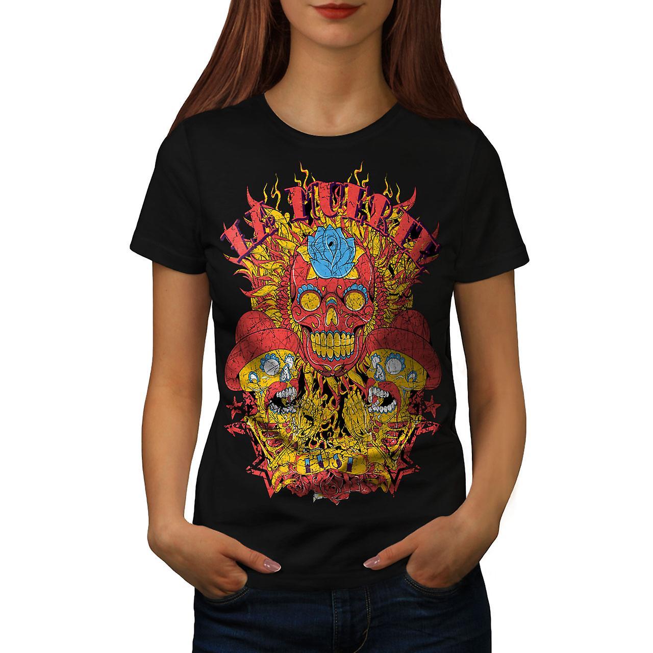 Day Of Dead Muerte Skull Women Black T-shirt | Wellcoda