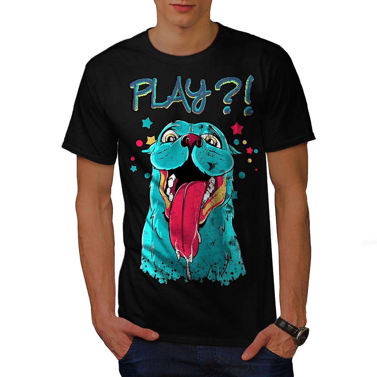Play Cute Beast Animal Men Black T-shirt | Wellcoda