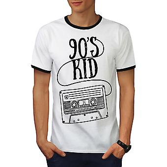 9's Kid Fashion Men White / BlackRinger T-shirt | Wellcoda