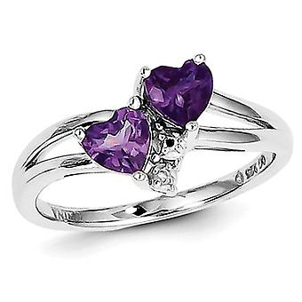 Amethyst Double Heart Ring 4/5 Carat (ctw) in Sterling Silver