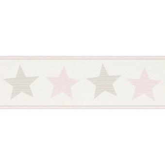 Wallpaper Star frontière enfants ados galaxie univers luxe blanc rose Bambino Rasch