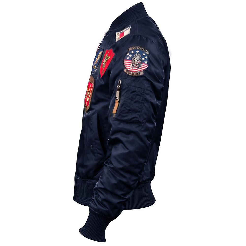 ba3270ec842 Top Gun MA 1 Nylon Bomber Jacket with Patches Navy