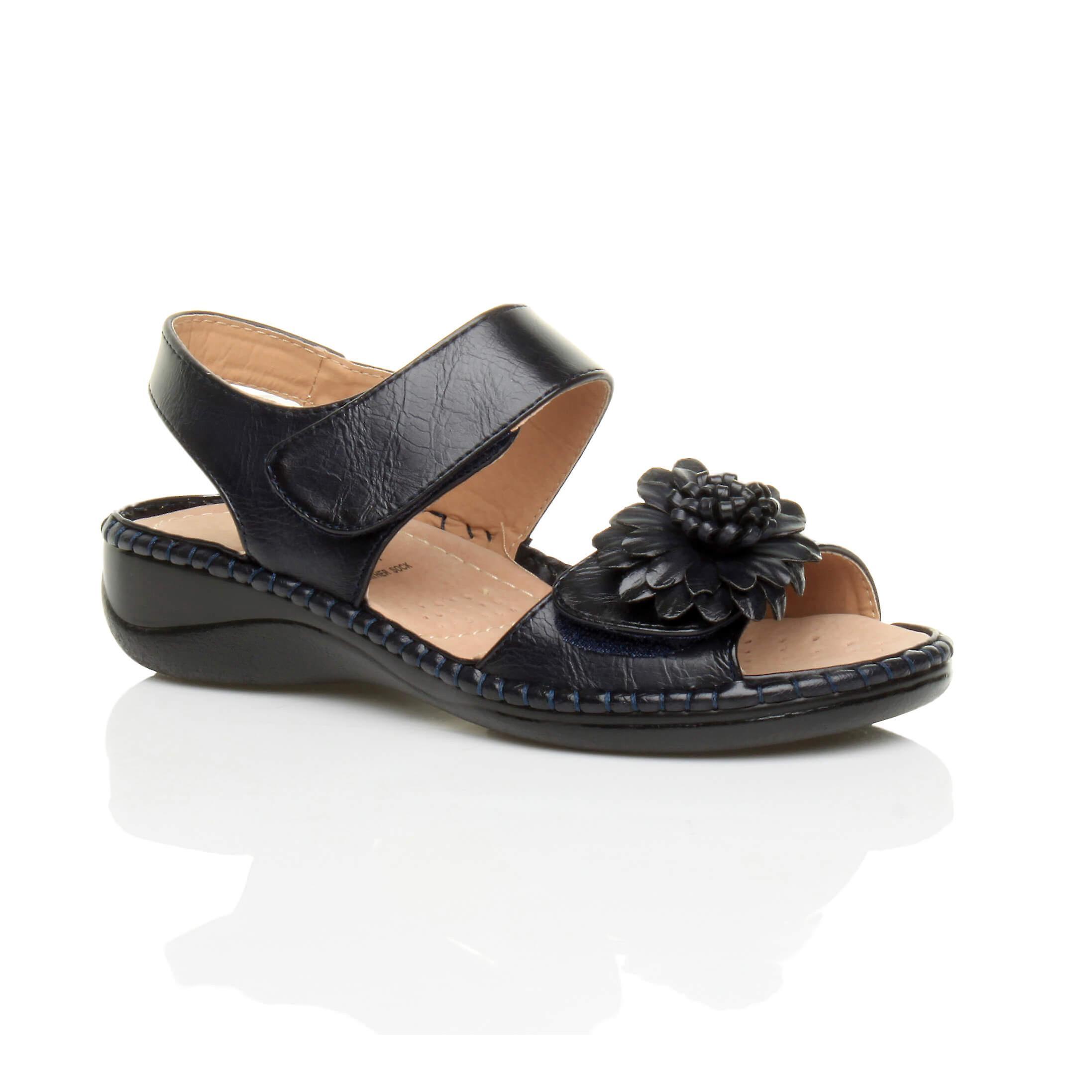Ajvani womens low wedge heel hook & loop strap slingback flower comfort leather insole sandals shoes