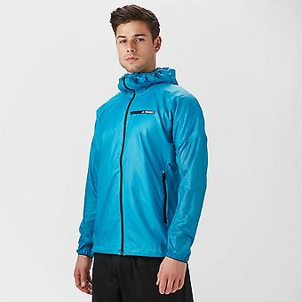 Nieuwe Adidas mannen Agravic alpha Hooded Shield Windbreaker jacket licht blauw