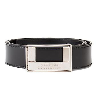 Versace Collection Men's Stainless Steel Buckle Leather Belt Black