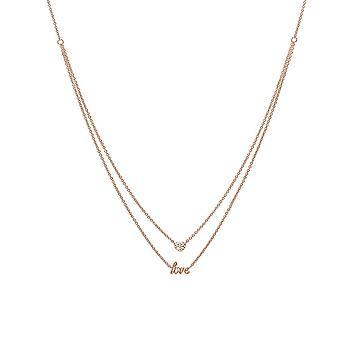ESPRIT women's chain necklace stainless steel Rosé jw52882 LOVE/heart ESNL03448C420