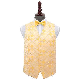 Sunflower Gold Diamond Wedding Waistcoat & Bow Tie Set