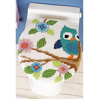Owl On A Branch Toilet Lid Cover Cross Stitch Kit-19