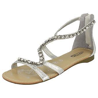 Damer plats på platta sandaler med Back Zip och Jewelled orm rem