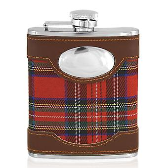 Scottish Red Tartan & Leather Clad Stainless Steel Hip Flask Set - 6oz