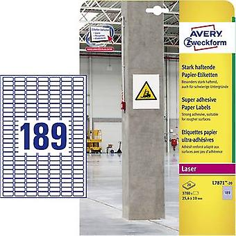 Avery-Zweckform L7871-20 Labels 25.4 x 10 mm Paper White 3780 pc(s) Permanent, Strongly adhesive Adhesive labels (extra strong), Multi-purpose labels 20 sheet