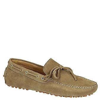 Men's driving moccasins in taupe gray suede leather