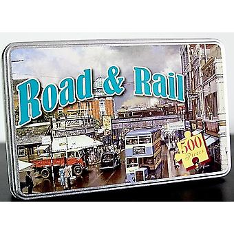 Road & Rail 500 Piece Jigsaw Puzzle In A Tin 420Mm X 297Mm