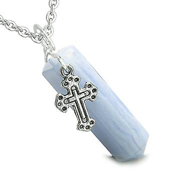 Amulet Crystal Point Holy Cross Charm Blue Lace Agate Positive Spiritual Pendant Necklace