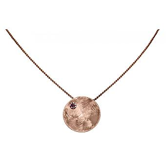 GEMSHINE ketting hanger massief 925 Zilver Rose goud verguld met rode granaat