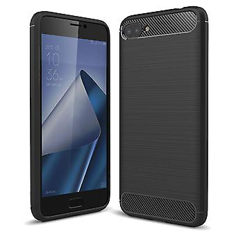 ASUS Zenfone 4 Max ZC554KL TPU case carbon fiber optics brushed protective case black