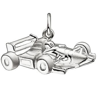 Trailer race car 925 sterling silver matt Satin Silver Pendant