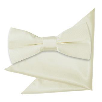 Elfenben almindelig Satin Bow Tie & lomme firkantet sat til drenge