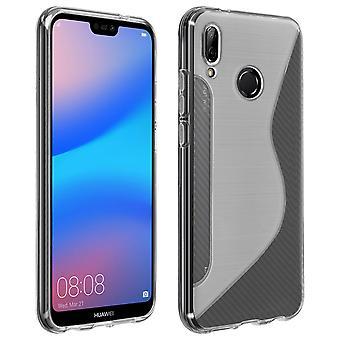 Capa de silicone macio S-linha design para Huawei P20 Lite - branco fosco