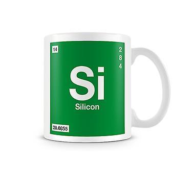 Wetenschappelijke afgedrukt Mok met Element symbool 014 Si-Silicon