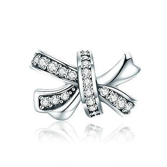 Sterling silver charm Dazzling bowknot