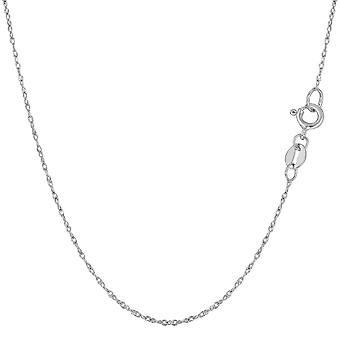 10k White Gold Rope Chain Necklace, 0.6mm