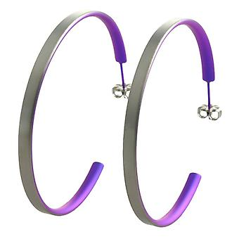 Ti2 Titanium store Hoop øredobber - keiserlige farge purpur