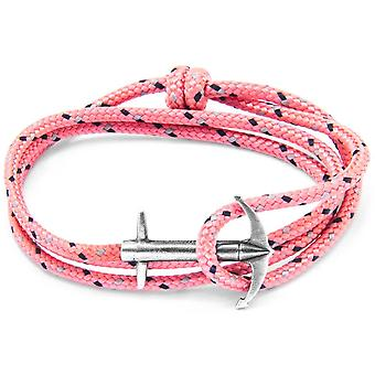 Anchor and Crew Admiral Silver and Rope Bracelet - Pink