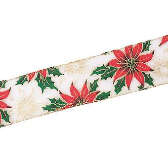 63mm Christmas Poinsettia Glittered Wired Edge Ribbon - 25m Reel
