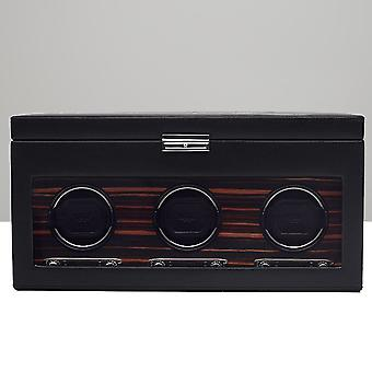 Wolf Designs Roadster Black Leather & Wood Triple Watch Winder 2.7 With Storage