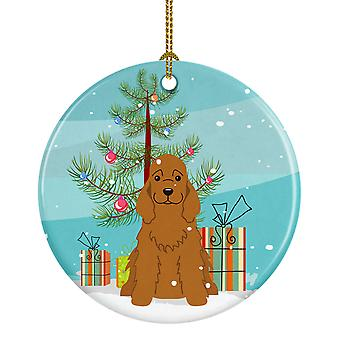 Merry Christmas Tree Cocker Spaniel røde keramiske Ornament