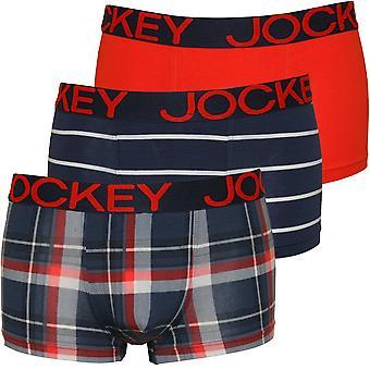 Jockey 3-Pack Stripes/Plaid/Plain Cotton Stretch Boxer Trunks, Navy/Flame