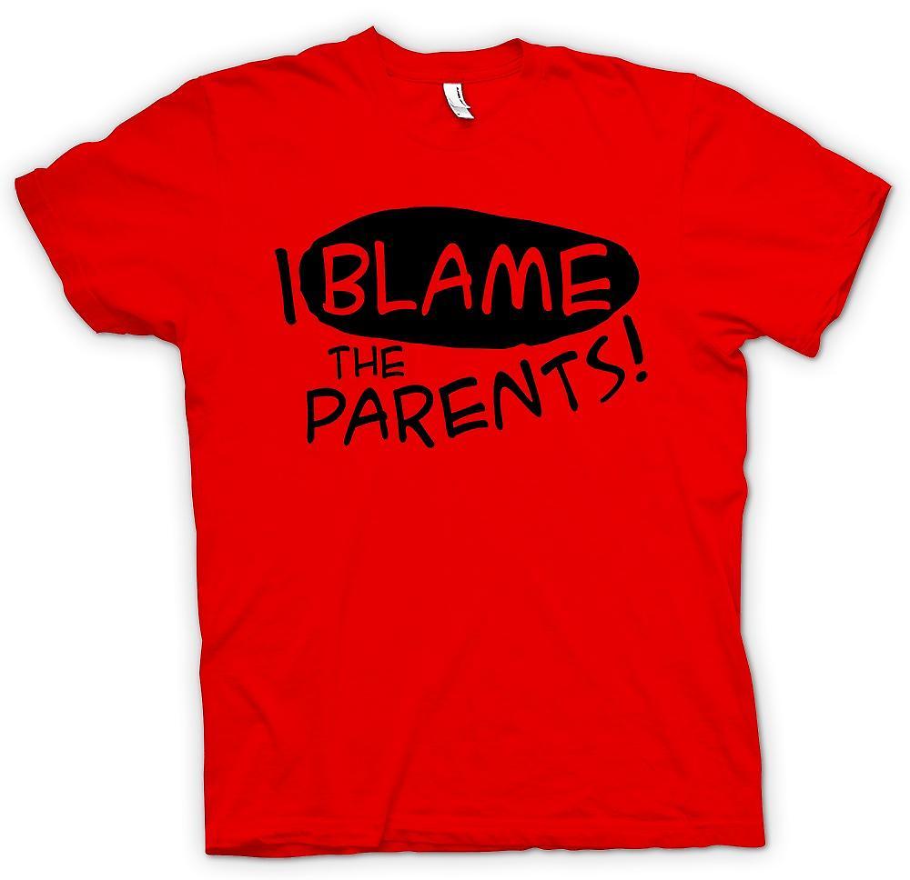 Camiseta para hombre - culpo a los padres - divertido chiste