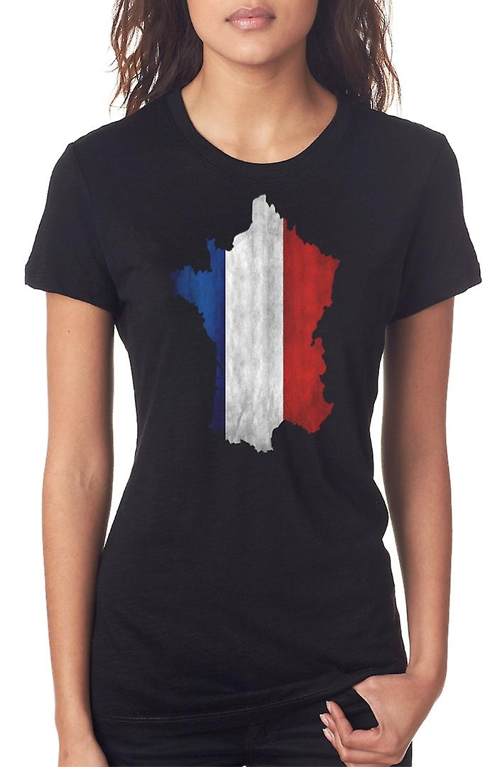 Bandiera francese Francia mappa Ladies T Shirt
