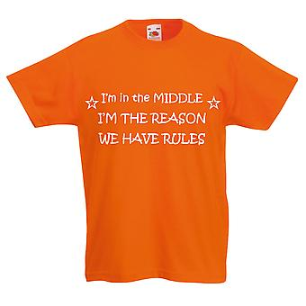Jeg er i midten jeg grunn har vi regler oransje Kids t-skjorte